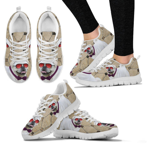 Pug Dog With Red Glasses Print Running Shoes For Women-Free Shipping