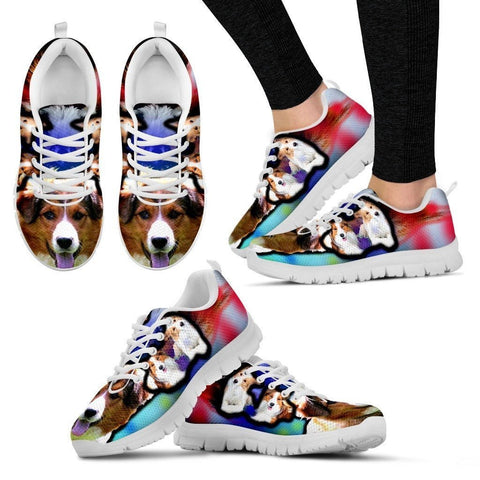 English Shepherd Dog Print Running Shoe For Women- Free Shipping