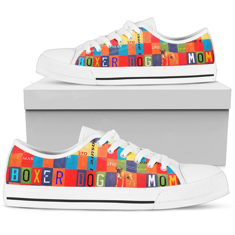 Boxer Dog Mom Print Low Top Canvas Shoes for Women