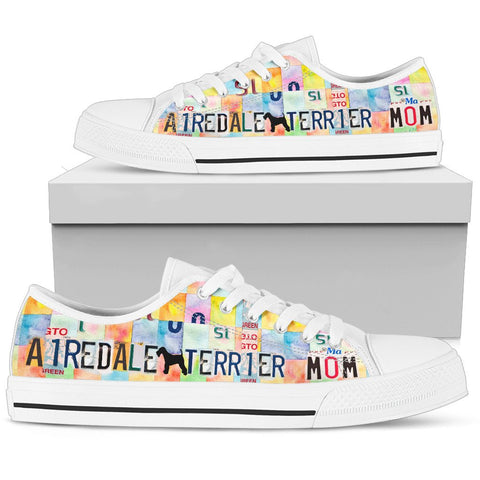 Airedale Terrier Mom Print Low Top Canvas Shoes for Women