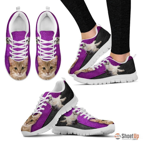 Somali Cat Print Sneakers With Purple Background For Women- Free Shipping