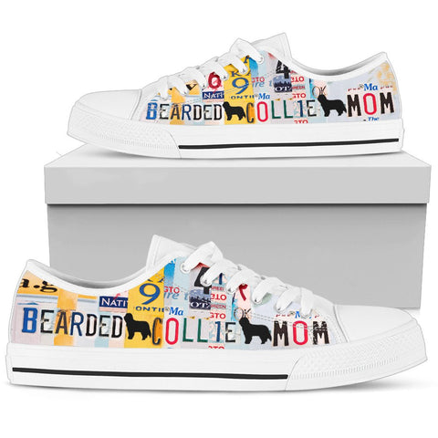 Bearded Collie Mom Print Low Top Canvas Shoes for Women