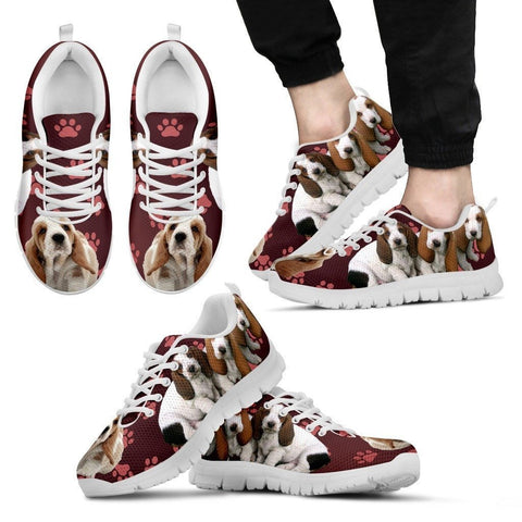 Paws Print Basset Hound (Black/White) Running Shoes For Men-Limited Edition-Express Delivery