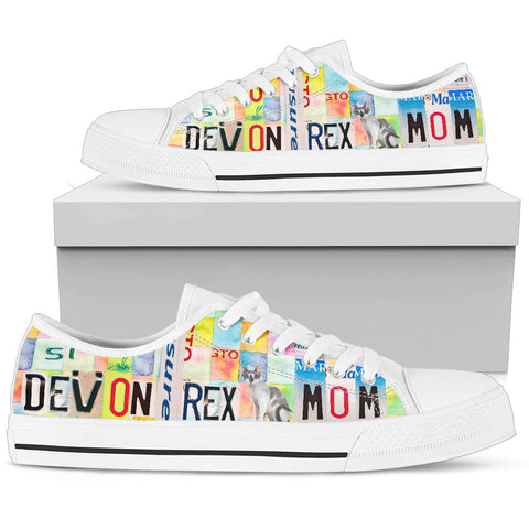 Devon Rex Mom Print Low Top Canvas Shoes for Women