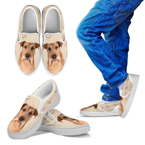 Irish Terrier Dog Print Slip Ons For Kids-Express Shipping