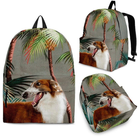 Borzoi Dog Print Backpack-Express Shipping