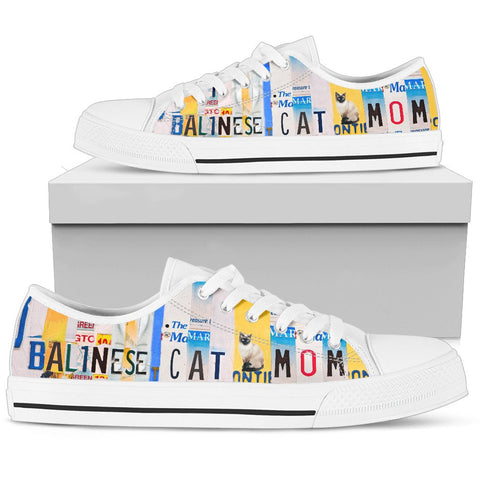 Balinese Cat Mom Print Low Top Canvas Shoes for Women