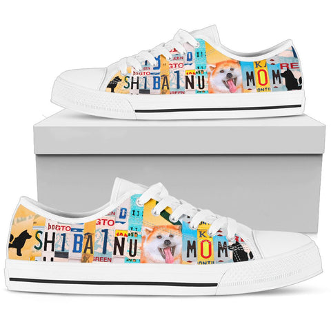 Shiba Inu Mom Print Low Top Canvas Shoes For Women