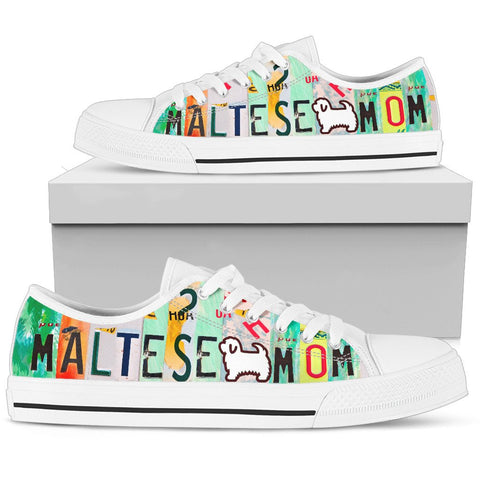 Maltese Mom Print Low Top Canvas Shoes For Women