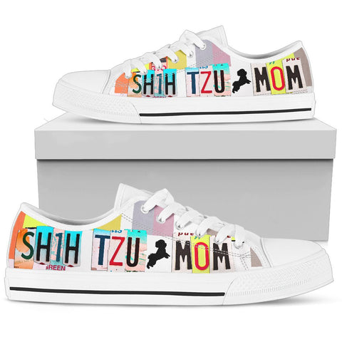 Shih Tzu Mom Print Low Top Canvas Shoes for Women