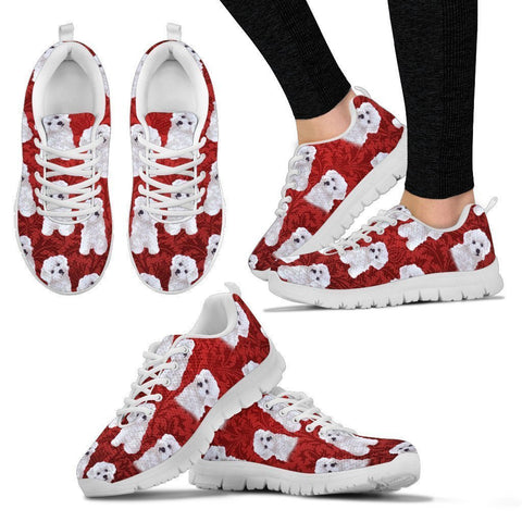 Bichon Frise Pattern Print Sneakers For Women- Express Shipping
