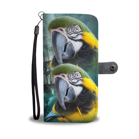 Blue and Yellow Macaw Print Wallet Case-Free Shipping