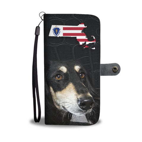 Black Saluki Dog Print Wallet Case-Free Shipping-MA State