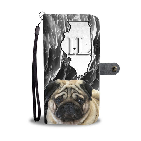 Pug Print Wallet Case-Free Shipping-IL State