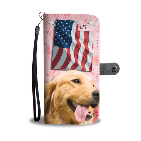 Golden Retriever On Pink Print Wallet Case- Free Shipping-UT State