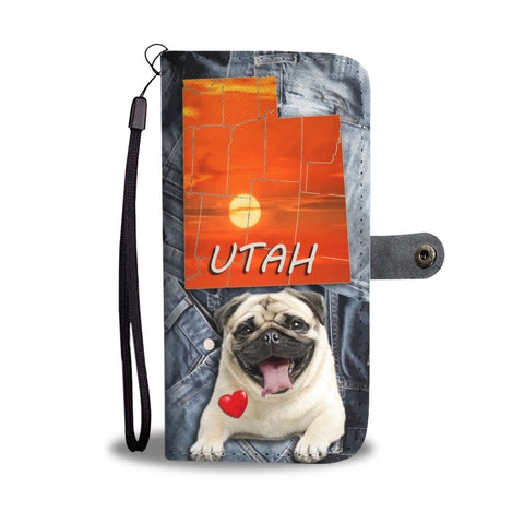 Pug Dog Print Wallet Case- Free Shipping- UT State