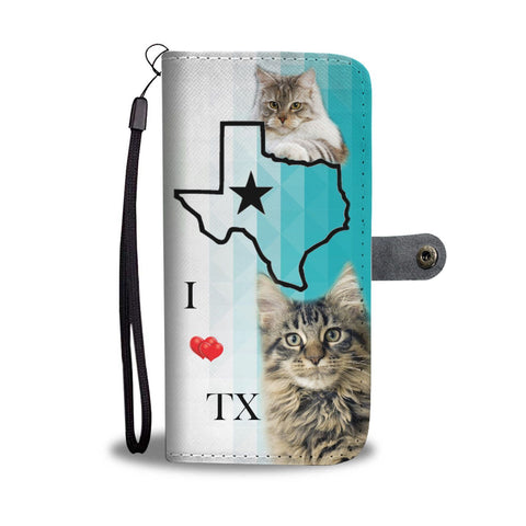 Maine Coon Cat Print Wallet Case-Free Shipping-TX State