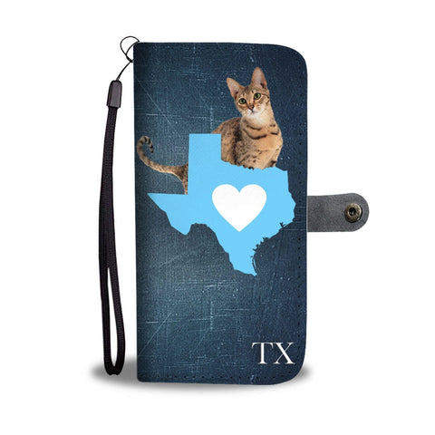 Cute Savannah Cat Print Wallet Case-Free Shipping-TX State