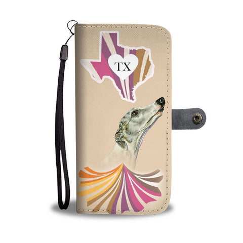 Whippet Dog Print Wallet Case-Free Shipping-TX State