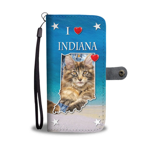 Cute Maine Coon Print Wallet Case-Free Shipping-IN State