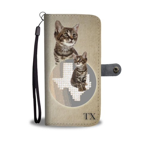 Manx Cat Print Wallet Case-Free Shipping-TX State