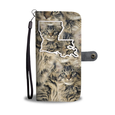 Maine Coon Cat Print Wallet Case-Free Shipping-LA State