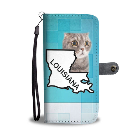 Scottish Fold Cat Print Wallet Case-Free Shipping-LA State