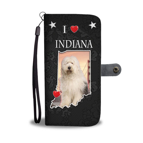 Old English Sheepdog On Black Print Wallet Case-Free Shipping-IN State