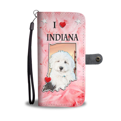 Cute Old English Sheepdog Print Wallet Case-Free Shipping-IN State