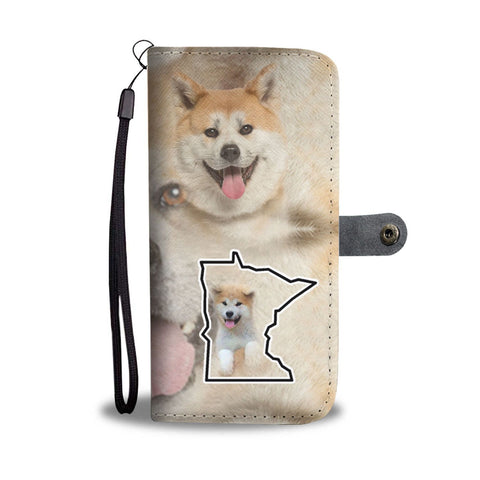 Akita Dog Print Wallet Case-Free Shipping-MN State