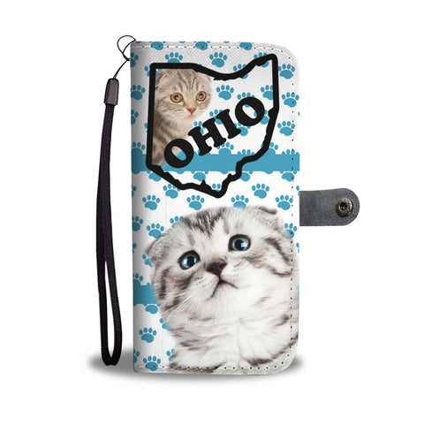 Scottish Fold Cat Paws Print Wallet Case-Free Shipping-OH State