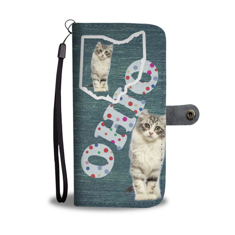 American Curl Cat Print Wallet Case-Free Shipping-OH State