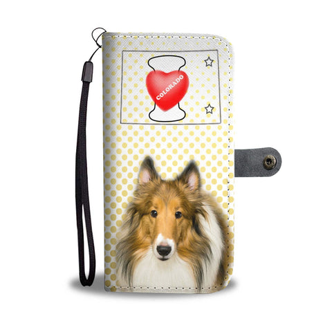 Rough Collie Print Wallet Case-Free Shipping-CO State