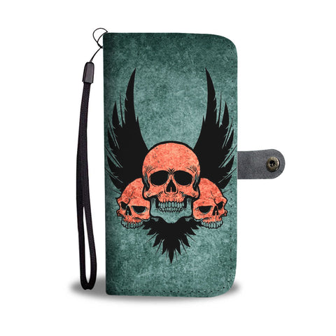 Three Skull Print Wallet Case-Free Shipping