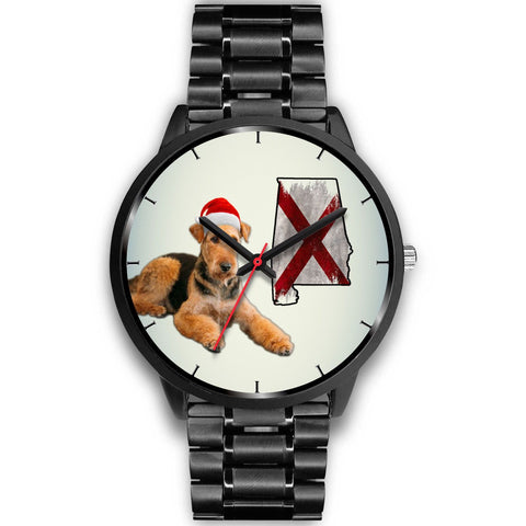 Airedale Terrier On Christmas Alabama Wrist Watch-Free Shipping