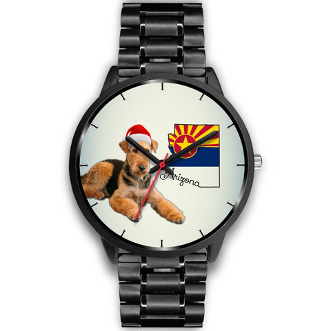 Airedale Terrier On Christmas Arizona Wrist Watch-Free Shipping