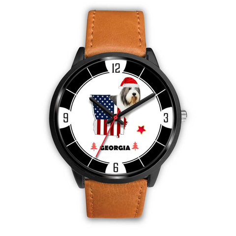 Bearded Collie Georgia Christmas Special Wrist Watch-Free Shipping