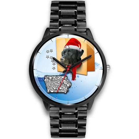 Black Labrador Retriever Iowa Christmas Special Wrist Watch-Free Shipping