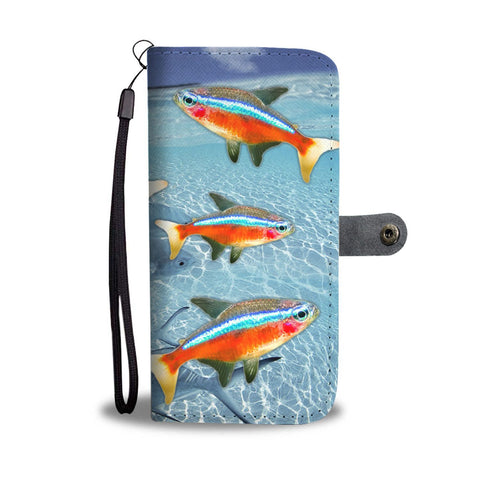 Neon Tetra Fish Print Wallet Case-Free Shipping