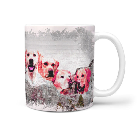 Labrador Retriever Drawing On Mount Rushmore Print 360 Mug