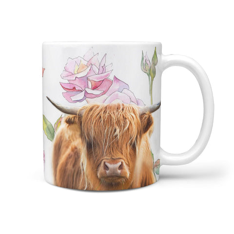 Highland Cattle (Cow) Print 360 White Mug