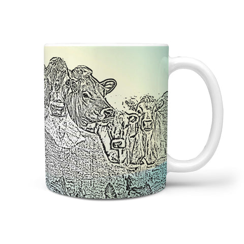 Jersey Cattle (Cow) Mount Rushmore Art Print 360 White Mug