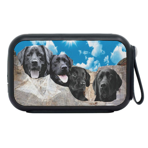 Black Labrador On Mount Rushmore Print Bluetooth Speaker