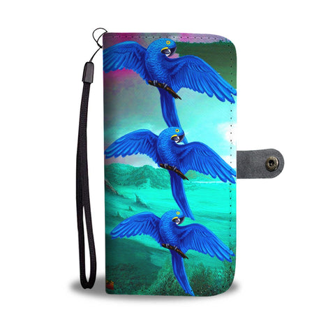 Hyacinth Macaw Parrot Print Wallet Case-Free Shipping