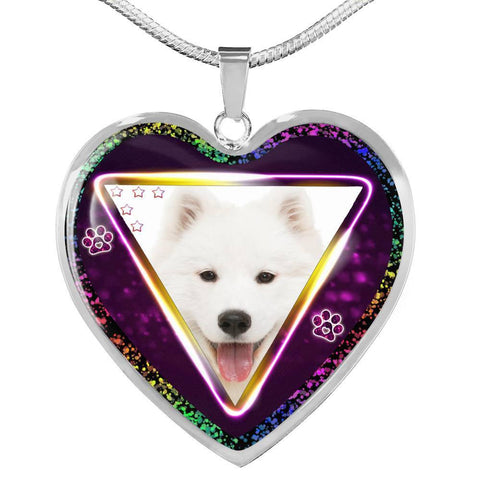 Lovely Samoyed Dog Print Heart Charm Necklaces-Free Shipping