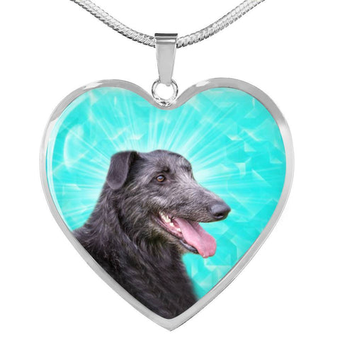 Scottish Deerhound Dog Print Heart Pendant Luxury Necklace-Free Shipping