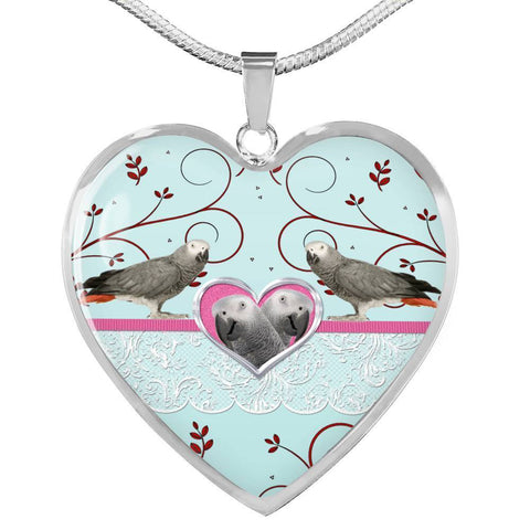 Cute African Grey Parrot Print Heart Pendant Luxury Necklace-Free Shipping