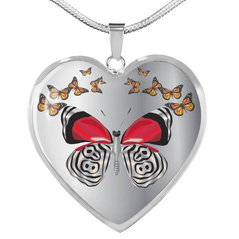 Butterfly Print Heart Pendant Luxury Necklace-Free Shipping
