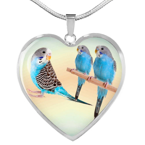 Blue Budgie Parrot Print Heart Charm Necklaces-Free Shipping