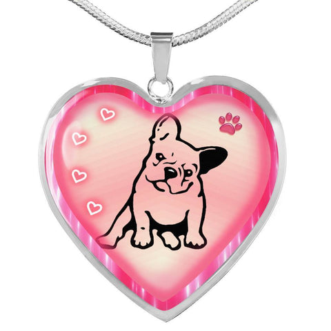 Cute French Bulldog Print Heart Charm Necklaces-Free Shipping